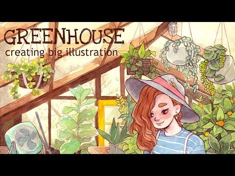 "Creating big illustration     Watercolor drawing ""GREENHOUSE"""