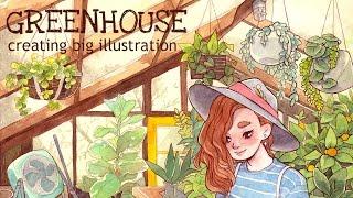 "Creating big illustration  || Watercolor drawing ""GREENHOUSE"""
