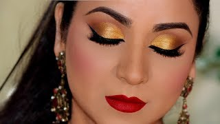 STEP-BY-STEP PARTY GOLD SMOKEY EYE MAKEUP TUTORIAL (हिंदी में/Hindi)