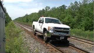 CN High-Rail truck passes Wales Rd
