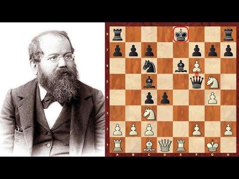 Best attack in chess by wilhelm steinitz  (steinitz vs rock in 1863)
