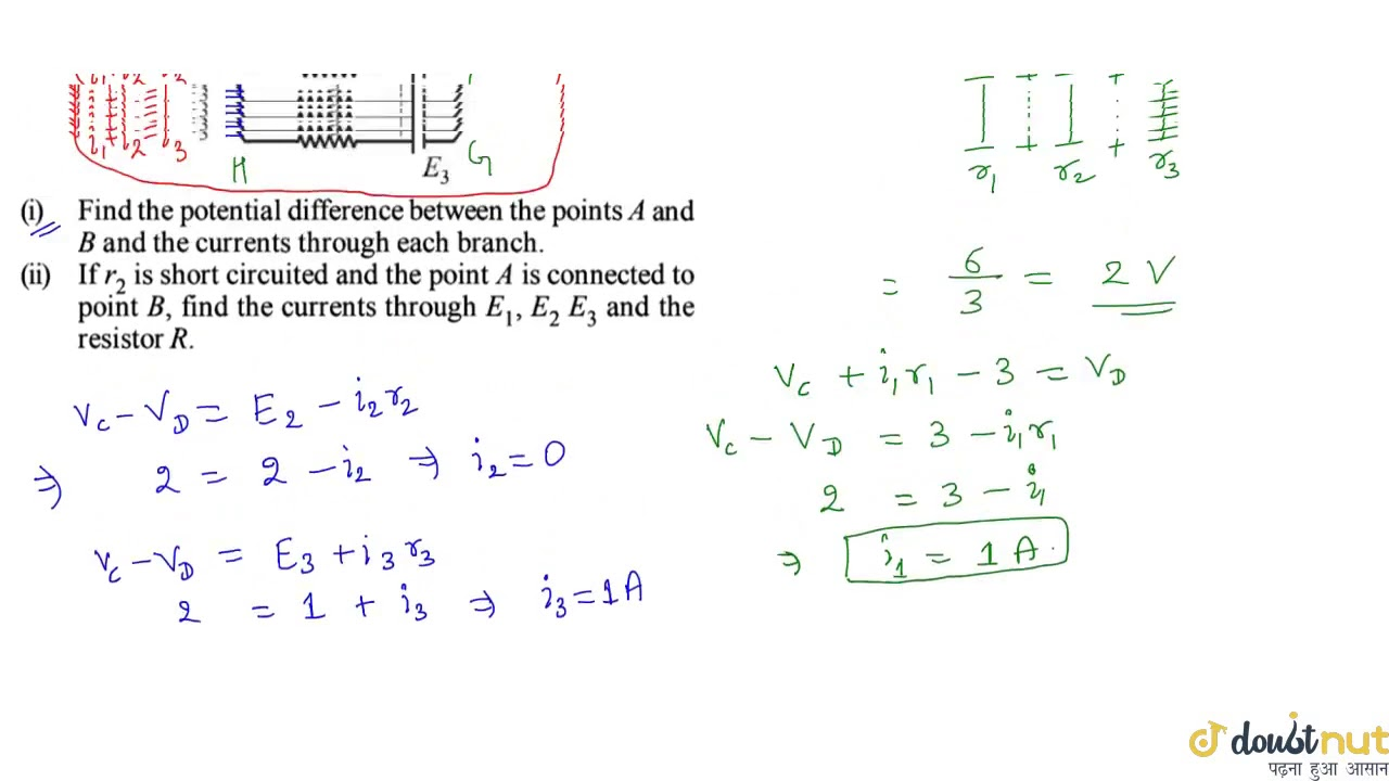 In the circuit shown in fig `E_1 = 3 volts, E_2 = 2volts ...