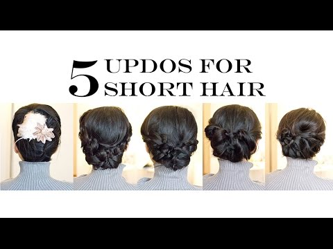 How-To for Short/Medium Hair | 5 Easy Updo Hairstyles (No-Heat ...