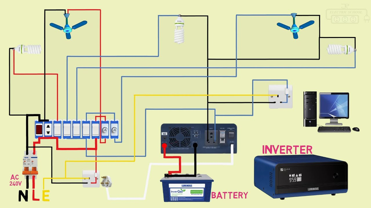inverter wiring connection - YouTube | Battery And Inverter Wiring Diagram |  | YouTube