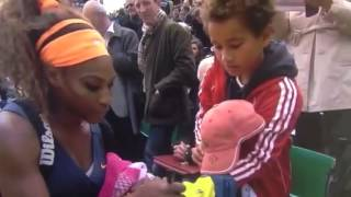 Kid gets excited with Serena Williams autograph