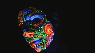 Face Painting With Fluorescent Paint Under A Blacklight for Relaxation (ASMR)