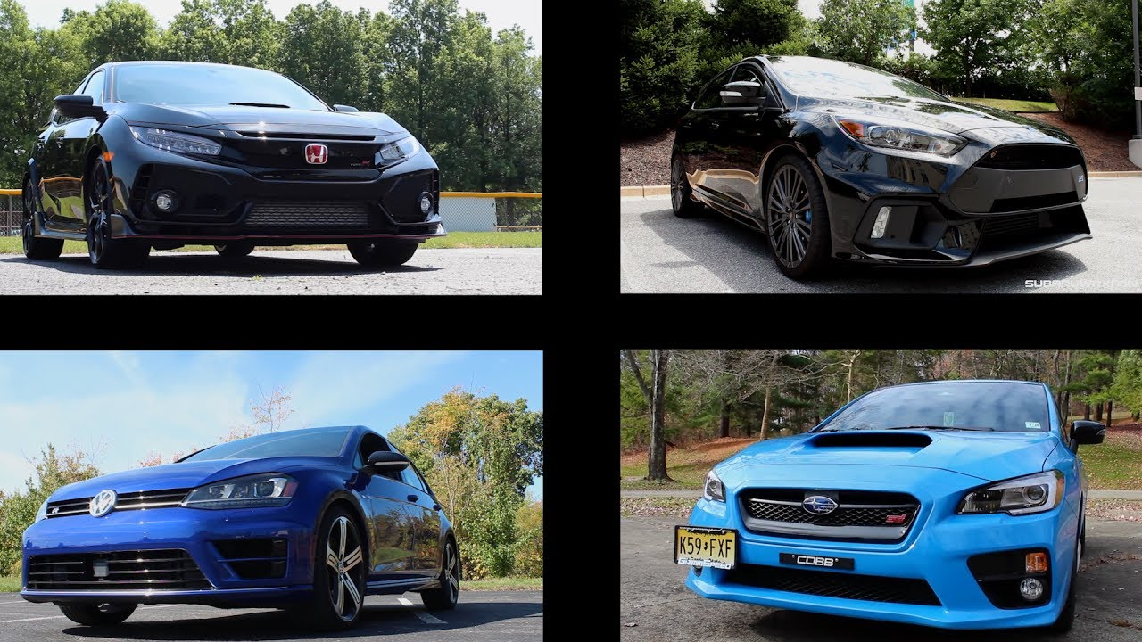 comparing the civic type r with the focus rs wrx sti and golf r youtube. Black Bedroom Furniture Sets. Home Design Ideas