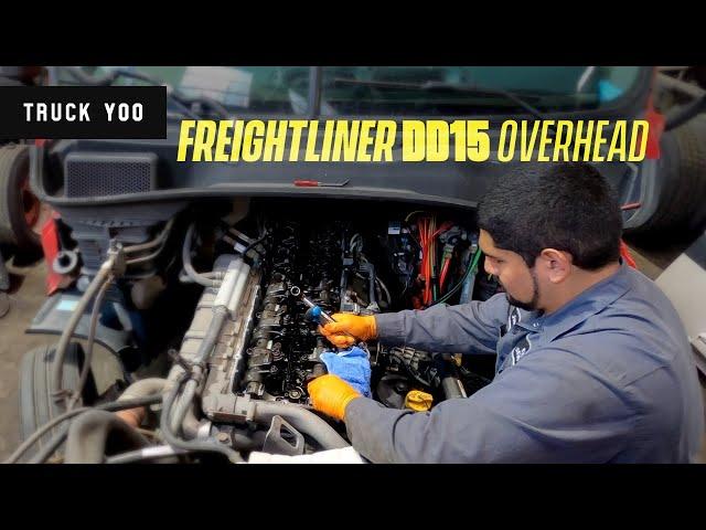 Detroit DD15 overhead valve adjustment. Freightliner Cascadia
