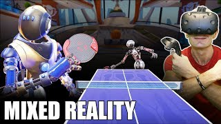 RACKET FURY VR GAMEPLAY & GIVEAWAY!   HTC Vive + TPCAST Mixed Reality Table Tennis