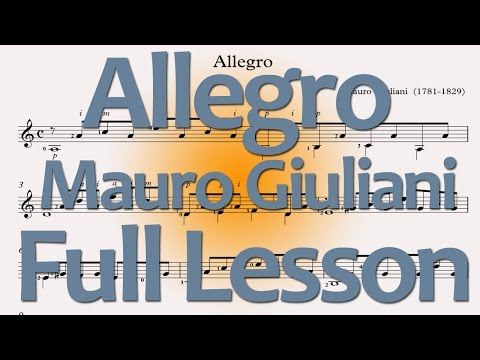 Mauro Giuliani Allegro: Full Lesson (free pdf/tab downloads)