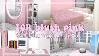 10k blush pink aesthetic room build-off - roblox // searia