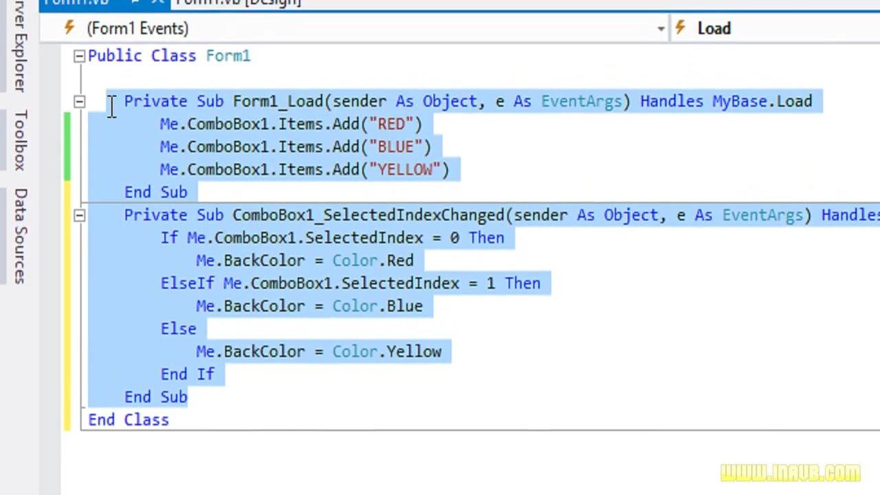 Visual basic. Net tutorial 43 how to use a combobox visual basic.