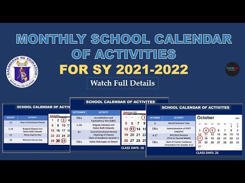 MONTHLY SCHOOL CALENDAR OF ACTIVITIES FOR SY 2021-2022