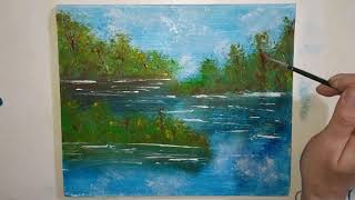 The technique of simple painting with acrylic paints for beginners / Landscape