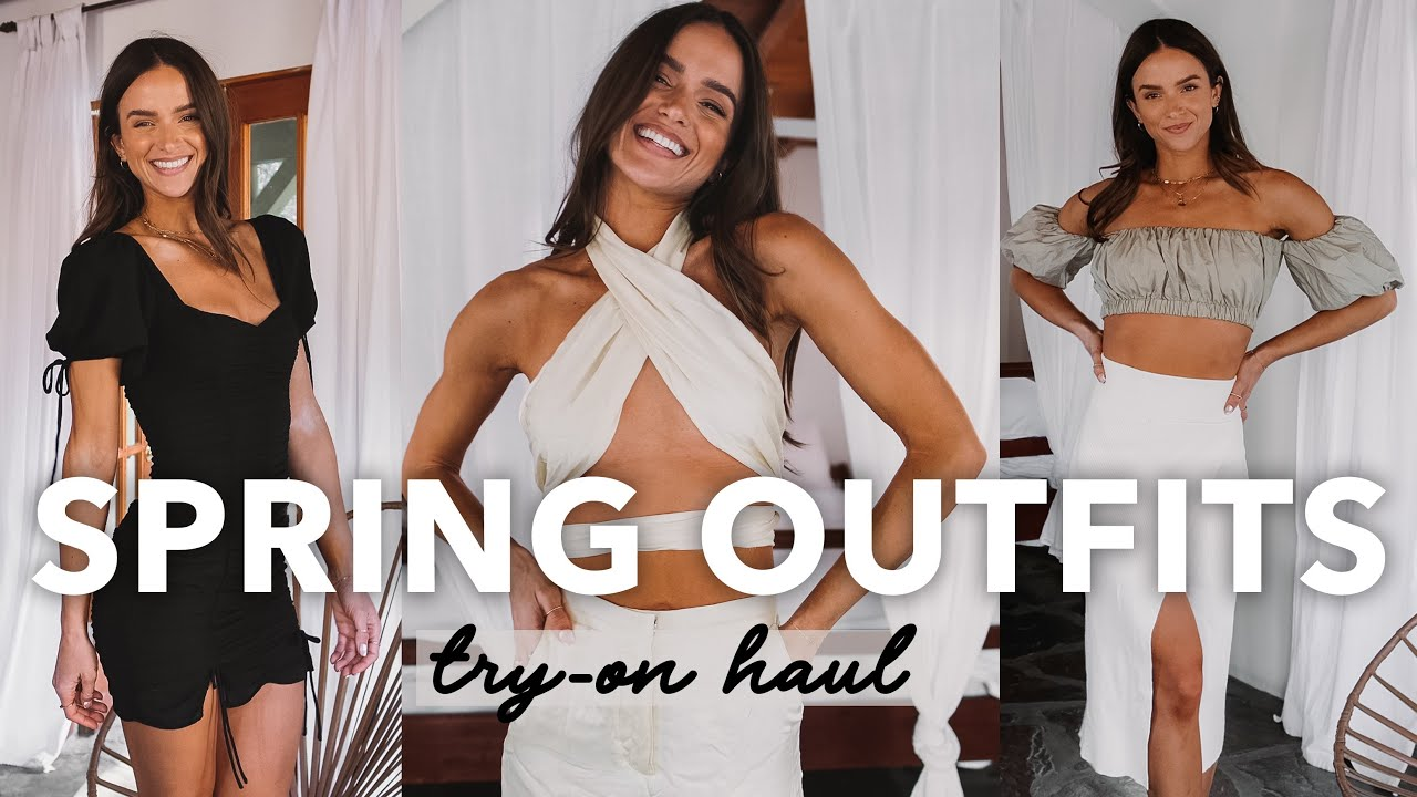 SPRING OUTFIT TRY ON HAUL- dresses, denim, swimwear, sweats