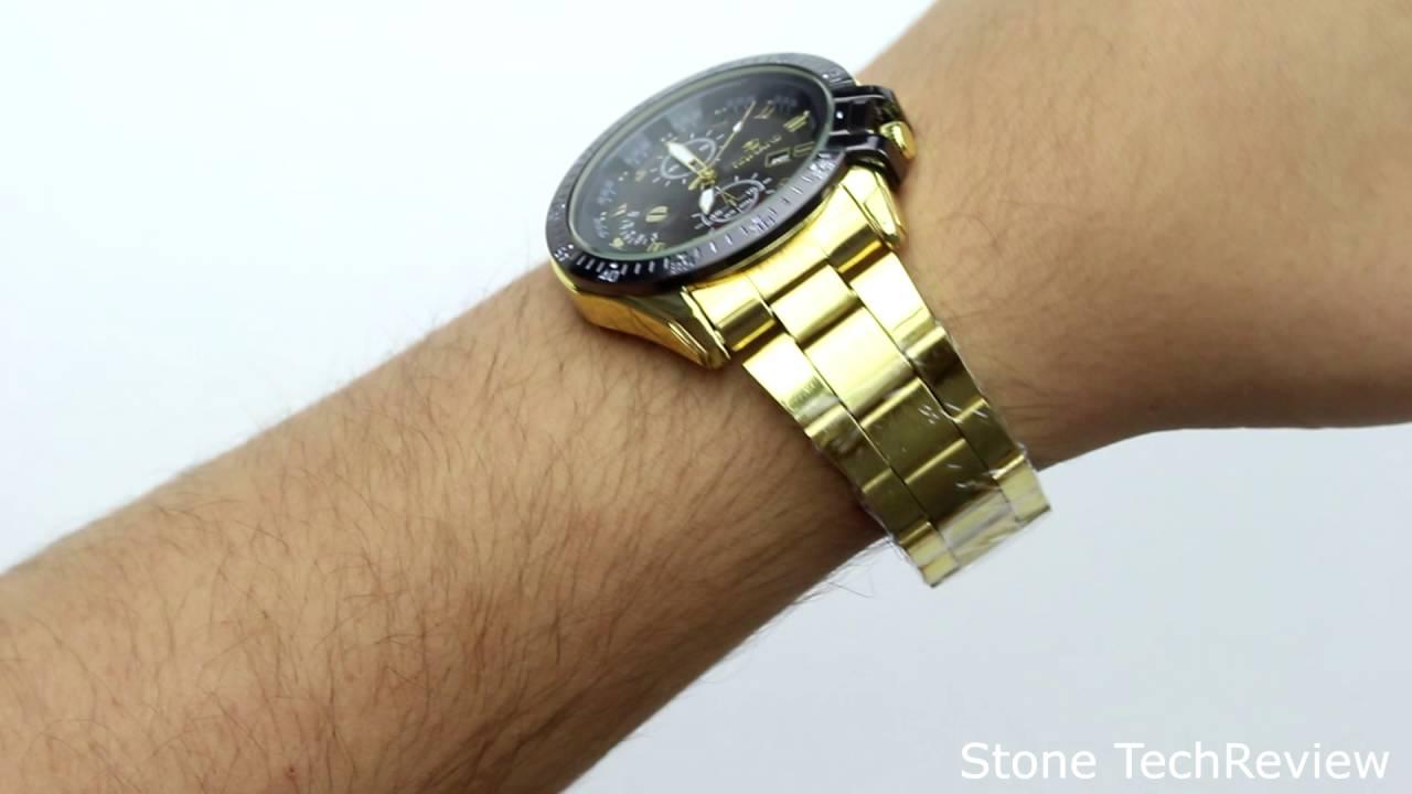unboxing xlordx goldene ring datum herren uhr analog quarzuhr edelstahl armbanduhr schwarz youtube. Black Bedroom Furniture Sets. Home Design Ideas