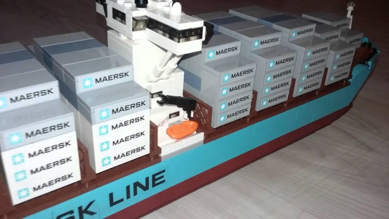Container ship maersk porte conteneurs lego youtube for Porte conteneur