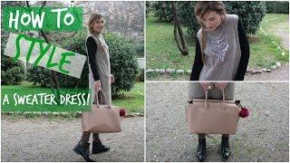 HOW TO WEAR TURTLENECK SWEATER DRESS & FUN PRINT LEGGINGS   2 Outfits   Hairburst TV Collab