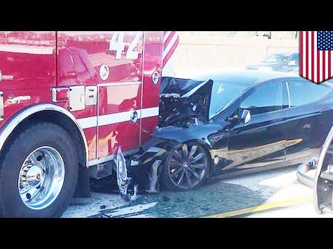 Tesla autopilot crash: Tesla Model S rear ends fire truck in Culver City, California - TomoNews