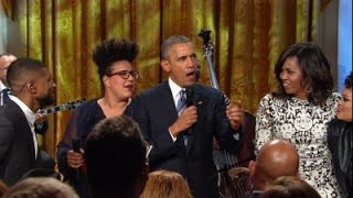 Watch President Obama speak -- and sing -- at White House tr...