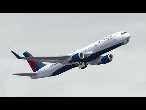 FSX HD Level-D 767 DELTA 1151 San Francisco to Honolulu, Hawaii Full Flight Passenger Wing View