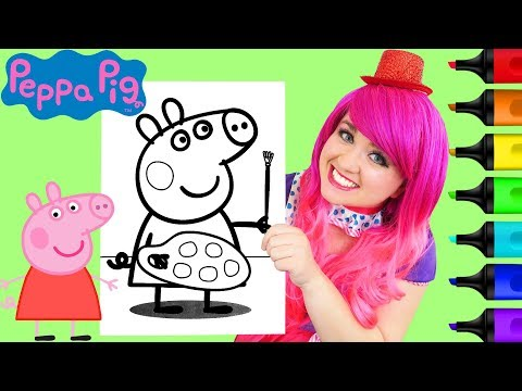Coloring Peppa Pig Painting Coloring Book Page Prismacolor Paint Markers | KiMMi THE CLOWN