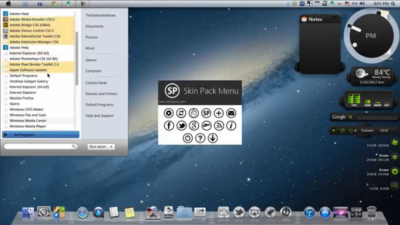 Windows 7 theme mac os x mountain lion skin pack for windows 7,8.