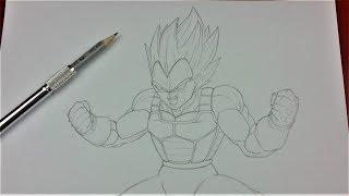 Drawing Tutorial: Sketching Vegeta Super Saiyan Blue | TolgArt