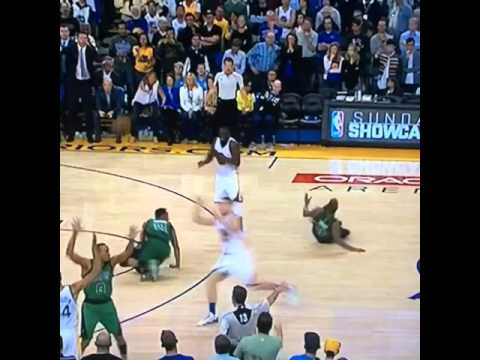Download Youtube: Warriors' Draymond Green tackles Celtics' Marcus Smart & Evan Turner to get himself open.