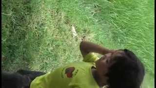 cambodia kampong speu province | little boy listening to frog crying sounds