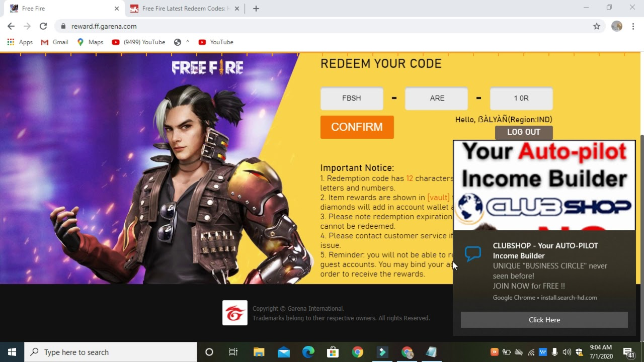 free redeem your code in reward ff garena - YouTube