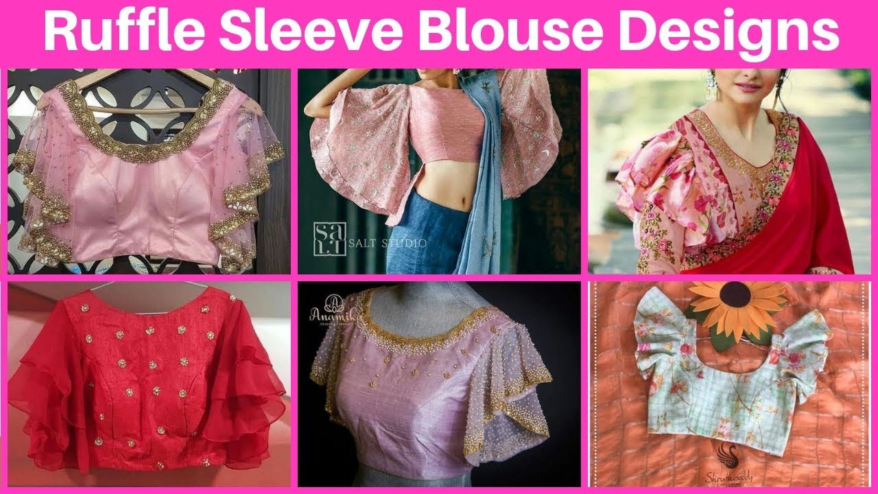 0674626799f73 Ruffle Sleeve Saree Blouse Designs