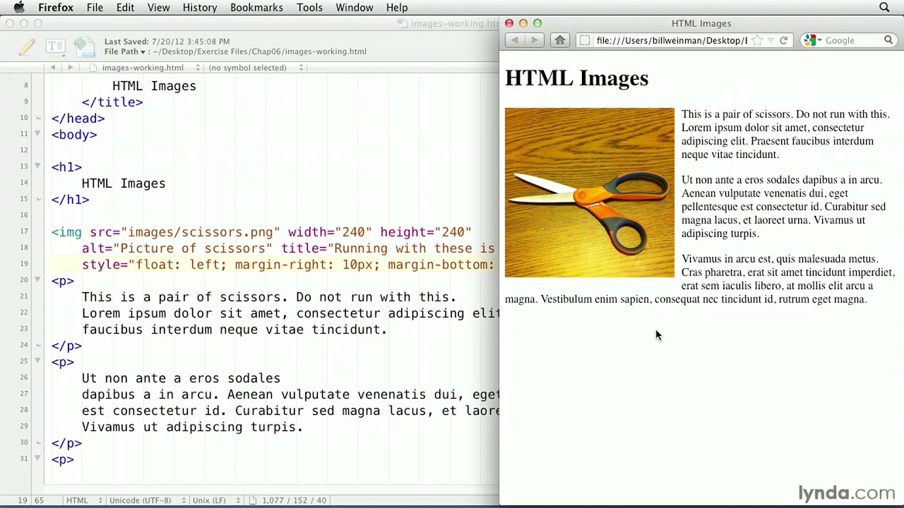 HTML tutorial: Flowing text around an image | lynda com