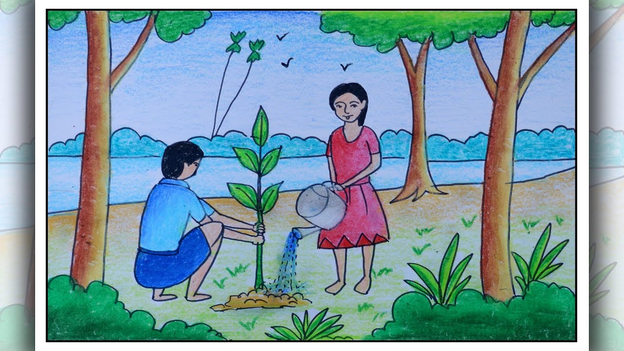 40+ Best Collections Simple Tree Plantation Drawing Images ...
