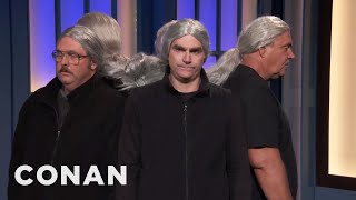 Five CONAN Crew Guys Got Their Ponytails Entangled  - CONAN on TBS