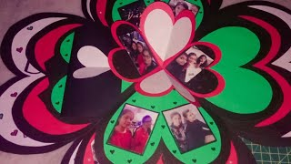 Flower folding card #Birthday greeting card #heart shape #flower pattern #photos with memories🖤❤️💚
