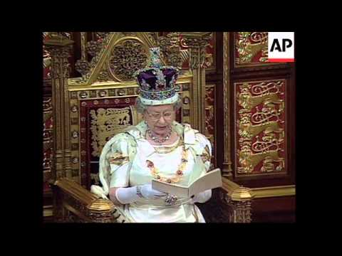 UK: LONDON: QUEEN'S SPEECH AT STATE OPENING OF PARLIAMENT