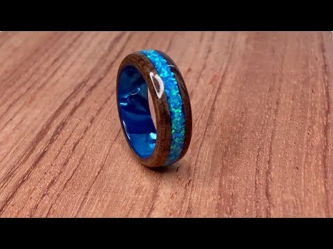 Crush Blue Opal + Wood Ring by Tempest Rings