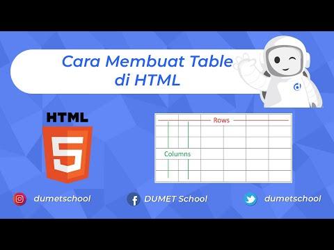 Cara Membuat Table Di HTML