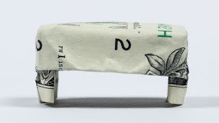 DOLLAR GIFT IDEAS for neighbors - Money Origami Furniture Stool