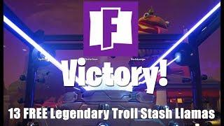 Fortnite Opening My 13 FREE Legendary Troll Stash Llamas