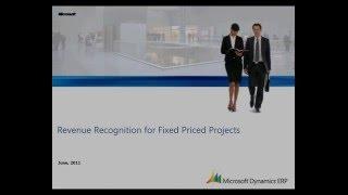 Microsoft Dynamics AX: constatation des produits à un Prix Fixe Projets