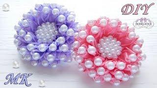 Цветы из узких лент с бусинами/ Flowers of ribbons with beads/ Kanzashi DIY