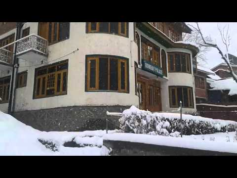 Snow fall in winter at Hotel Bombay Palace Pahalgam