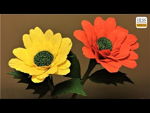 How to make daisy paper flower| DIY daisy crepe paper flower making tutorials| paper crafts