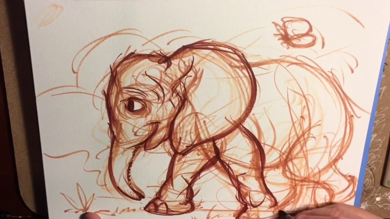 How to draw: baby elephant - YouTube
