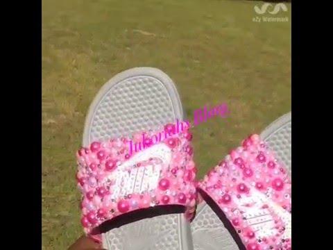 4e54d4bd770c Diy bling Nike slides BLING HAUL - YouTube