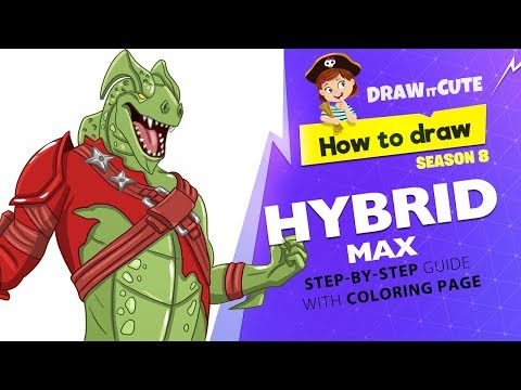 How to draw Hybrid Max | Fortnite season 8 step-by-step drawing tutorial with coloring page
