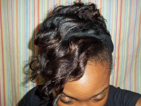 Protective Style Curly Updo On Relaxed Hair Youtube