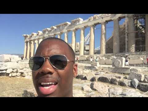 Visiting the Acropolis and Pantheon in Athens, Greece.  July 2015